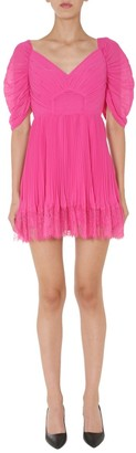 Self-Portrait Pleated Lace Trim Dress