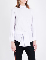 Toga Belted striped cotton shirt