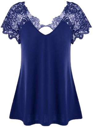 SHOBDW Womens T-Shirts Womens Plus Size Fashion Sexy Lace Hollow V-Neck Short Sleeve Trim Cutwork Blouse Tops (XXL