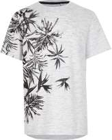 River Island Boys blue floral textured jersey T-shirt