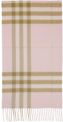 Burberry Pink Cashmere Check Classic Scarf