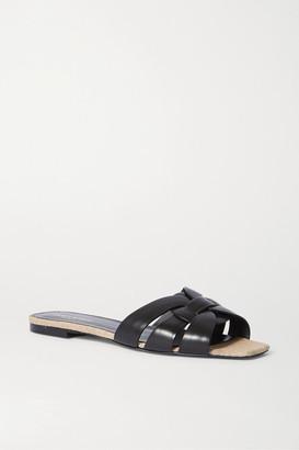 Saint Laurent Nu Pieds Woven Leather And Canvas Slides - Black