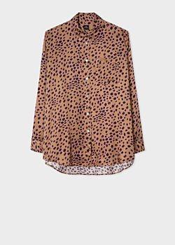 Paul Smith Tan cheetah print long shirt - UK6 | polyester | tan | Mauve - Tan