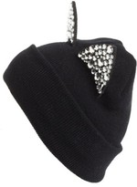 Tasha Women's Jeweled Cat Ear Beanie - Black