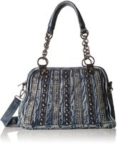 MG Collection Studded Denim Convertible Shoulder Bag