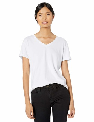 Goodthreads Washed Jersey Cotton Roll-sleeve V-neck T-shirt White US (EU XS-S)