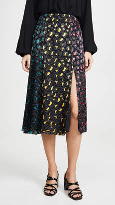 Alice + Olivia Jenessa Combo High Slit Skirt