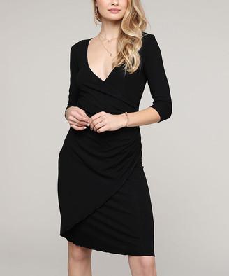 Lbisse Women's Special Occasion Dresses Black - Black Three-Quarter Sleeve Surplice Dress - Women