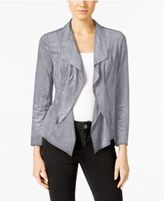Alfani Petite Faux-Suede Open-Front Jacket, Only at Macy's