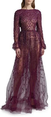 Valentino Embellished Tulle Open-Back Dress