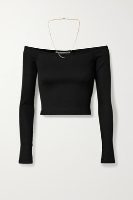 Alexander Wang Off-the-shoulder Chain-embellished Ribbed Stretch-jersey Top - Black