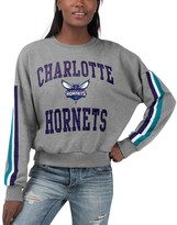 G Iii Women's G-III 4Her by Carl Banks Gray Charlotte Hornets Slouchy Rookie French Terry Pullover Sweatshirt
