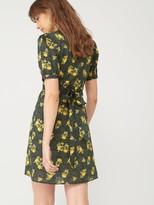 Very Printed Cotton Wrap Dress - Black Floral