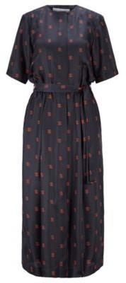 HUGO BOSS Shirt dress in silk with all-over monogram print