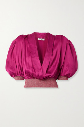AVAVAV Wrap-effect Metallic Stretch Knit-trimmed Satin Blouse - Magenta