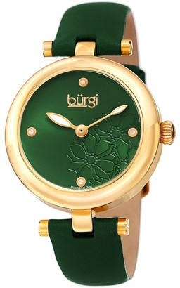 Burgi Ladies Diamond Floral Barbell Green Leather Strap Watch