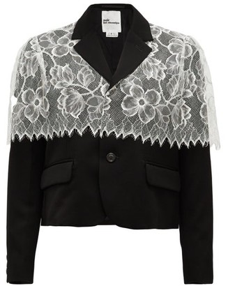 Noir Kei Ninomiya Chantilly-lace Trimmed Wool Jacket - Black White