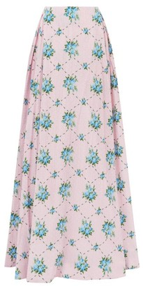 Emilia Wickstead Constancia Rose-print Cotton-bibiano Maxi Skirt - Pink Multi