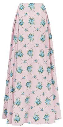 Emilia Wickstead Constancia Rose-print Cotton-bibiano Maxi Skirt - Womens - Pink Multi
