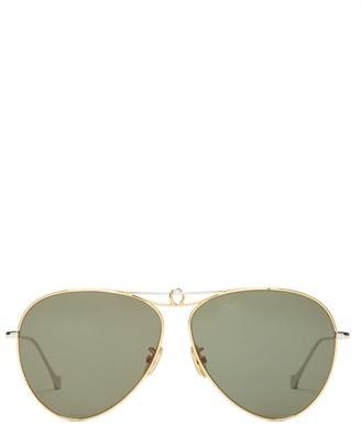 Loewe Aviator Metal Sunglasses - Womens - Green Gold