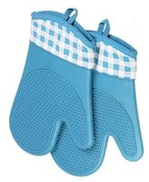 Kylin Express 1 Pair Waterproof Antiskid Silicone&Cotton Oven Mitt Household Glove, A