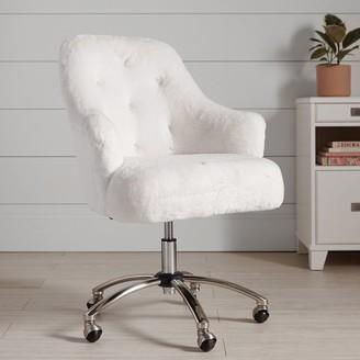 Pottery Barn Teen Polar Bear Faux-Fur Tufted Swivel Desk Chair