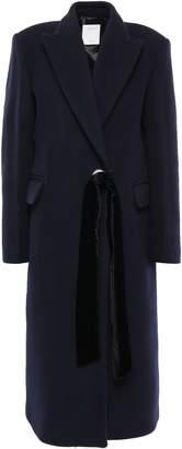 Sandro Velvet-trimmed Wool-blend Felt Coat