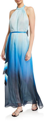 Jonathan Simkhai Ombre Halter Maxi Dress w/ Fringe Belt