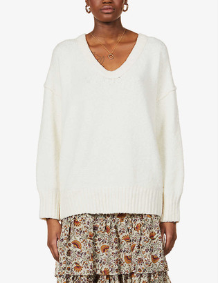 Free People Scoop-neck cotton-blend jumper