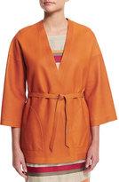 Loro Piana Reversible Leather Kimono Jacket, Sughero/Alkekengi