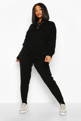 boohoo Plus Crew Neck Slouchy Knitted Lounge Set