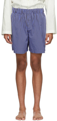 Tekla Blue Striped Pyjama Shorts