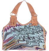 M Missoni Leather-Trimmed Printed Tote