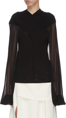 J.W.Anderson Sheer sleeve criss cross front top