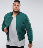Asos Plus Bomber Jacket With Ma1 Pocket In Bottle Green