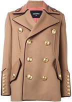 DSQUARED2 'Military' double breasted coat - women - Virgin Wool/Polyamide/Polyester/Watersnake Skin - 42