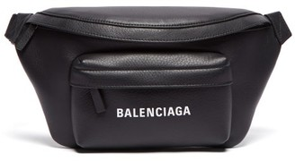 Balenciaga Logo-print Leather Belt Bag - Mens - Black