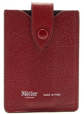 Metier - Small Logo-stamped Leather Wallet - Burgundy