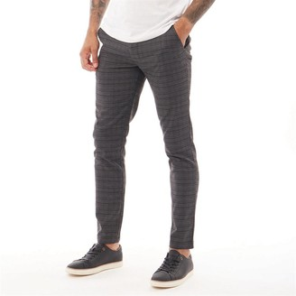 Fluid Mens Checked Trousers Charcoal Check