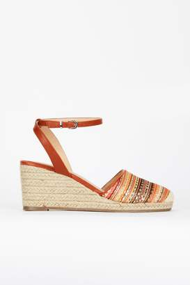 Wallis **Tan Ankle Strap Espadrille Wedge