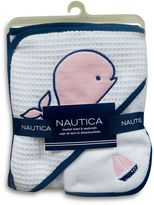 Nautica 2-Piece Hooded Towel and Washcloth Set in Pink