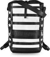 Balmain American Flag Black and White Patchwork Leather Men's Cruise Backpack