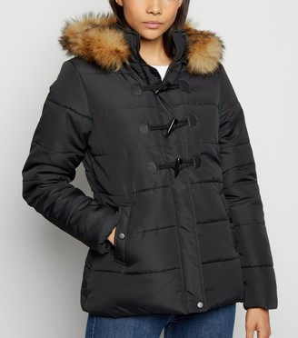 New Look Faux Fur Trim Duffle Puffer Jacket