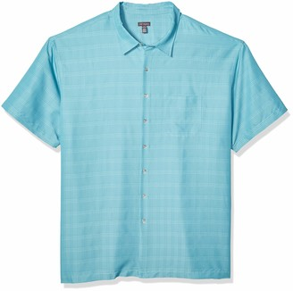 Van Heusen Men's Big & Tall Tall Poly Rayon Short Sleeve Button Down Shirt