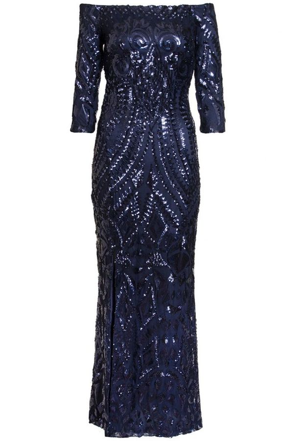 Quiz Navy Sequin Bardot Fishtail Maxi Dress
