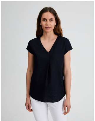 Regatta Extended Short Sleeve Front Pleat Linen Top