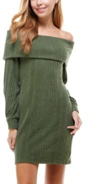 City Studios Juniors' Off-The-Shoulder Sweater Dress