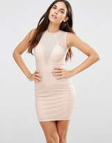 TFNC Laser Cut Dress With Mesh Detail