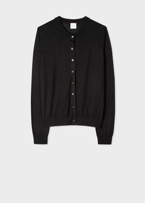 Paul Smith Women's Black Wool-Silk Cardigan With Openwork Detail
