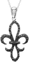 Black Diamond Sterling Silver 1/4-ct. T.W. Fleur-de-Lis Pendant